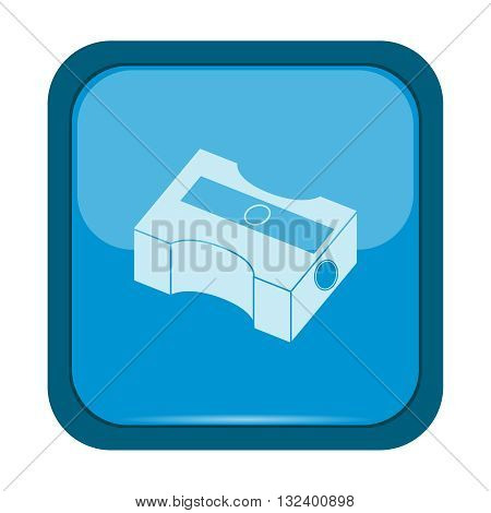 Pencil sharpener icon on a blue button, vector illustration