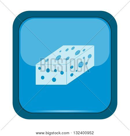 Sponge Icon on a blue button, vector illustration