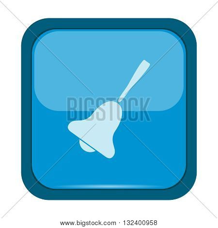 Bell icon on a blue button, vector illustration