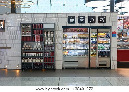 DUBAI, UAE - MARCH 09, 2016: Costa Coffee at Dubai International Airport. Costa Coffee is a British multinational coffeehouse company. It is the second largest coffeehouse chain in the world