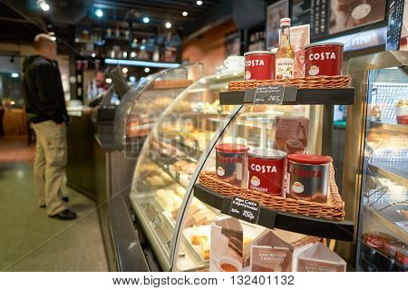 SAINT PETERSBURG, RUSSIA - CIRCA MARCH, 2016: interior of Costa Coffee. Costa Coffee is the second largest coffeehouse chain in the world behind Starbucks.