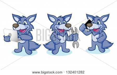 Wolf Mascot Vector with phone laptop and tools