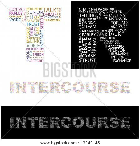 INTERCOURSE. Word collage. Illustration with different association terms.