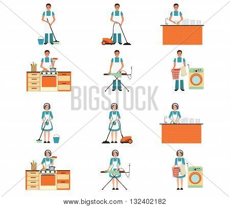 Set of housewife and house husband cleaning ironing cooking and washing with equipment cleansing isolated on whiteset character vector illustration.
