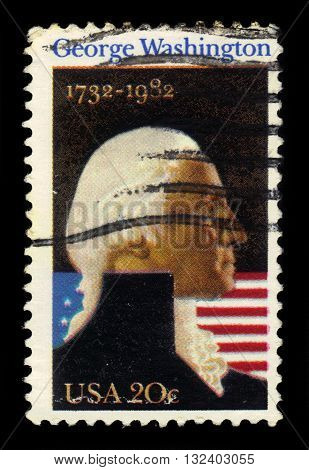 USA - CIRCA 1982: a stamp printed in USA shows George Washington, first president of the United States, circa 1982