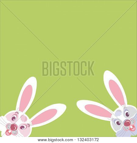 Two funny Bunny peeking out of the corner vector image with empty space for text.