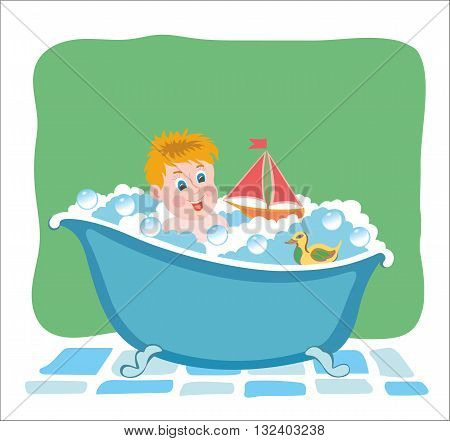 Bathing baby in tub with toys. Vector graphic image.