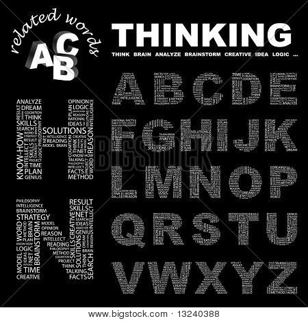 THINKING. Vector letter collection. Illustration with different association terms.