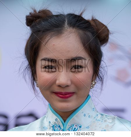BANGKOK THAILAND - FEBRUARY 08 2016 : Unknown Thai girl during the celebration of Chinese New Year and Valentine's Day in Yaowarat street Chinatown