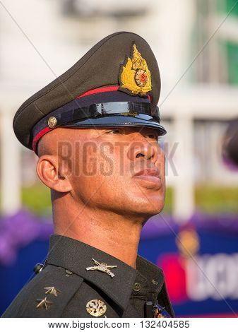 BANGKOK THAILAND - FEBRUARY 08 2016 : Unknown Thai policeman to keep order in the street Yaowarat during the celebration of Chinese New Year in Chinatown