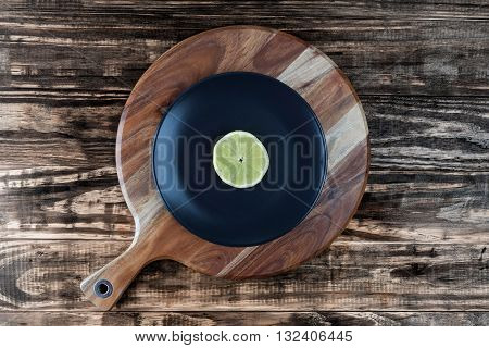 Slice Of Lemon Like Vinyl Record Top View With Copy Space