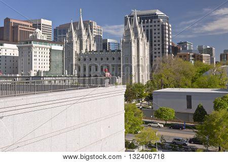 Salt Lake city Utah downtown architecture and landmarks.