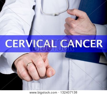 technology, internet and networking in medicine concept - medical doctor presses cervical cancer button on virtual screens. Internet technologies in medicine.