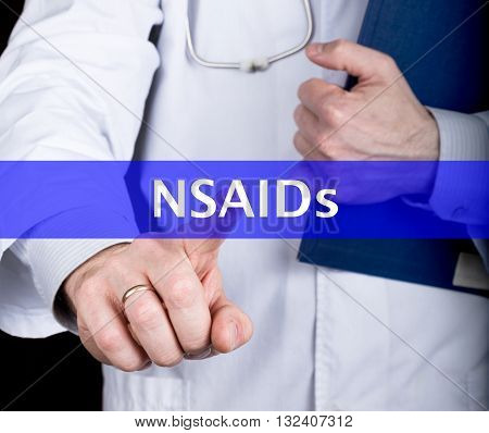 technology, internet and networking in medicine concept - medical doctor presses NSAIDs button on virtual screens. Internet technologies in medicine