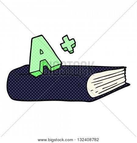 freehand drawn cartoon A grade symbol and book