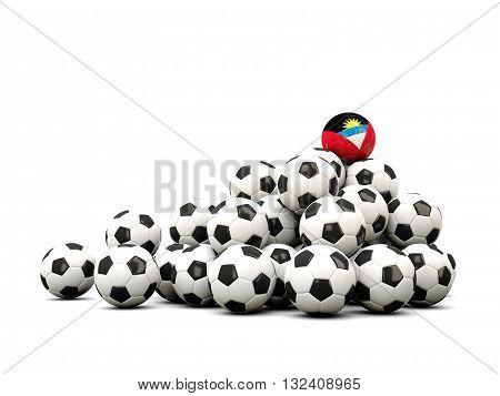 Pile Of Soccer Balls With Flag Of Antigua And Barbuda