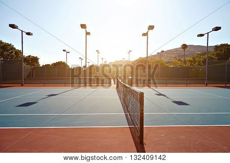 Outdoor tennis court with nobody in Malibu California