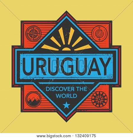 Stamp or vintage emblem with text Uruguay, Discover the World, vector illustration