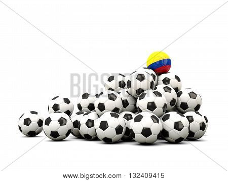 Pile Of Soccer Balls With Flag Of Colombia