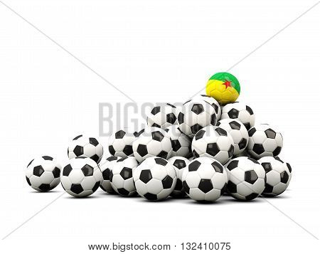 Pile Of Soccer Balls With Flag Of French Guiana