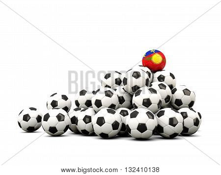 Pile Of Soccer Balls With Flag Of Guadeloupe
