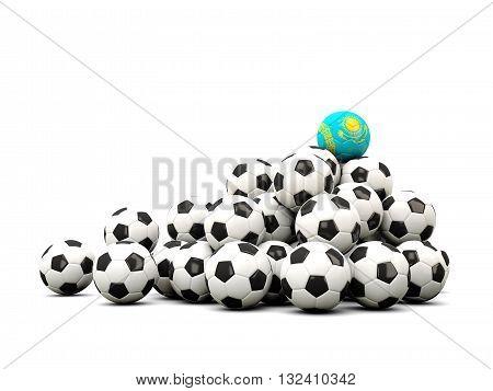 Pile Of Soccer Balls With Flag Of Kazakhstan