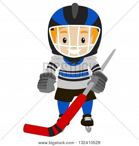 Vector Illustration of Kid Ice Hockey Player