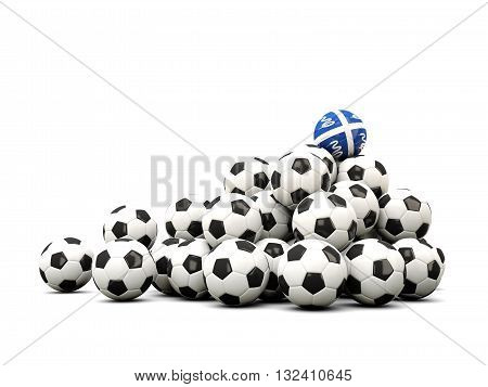 Pile Of Soccer Balls With Flag Of Martinique