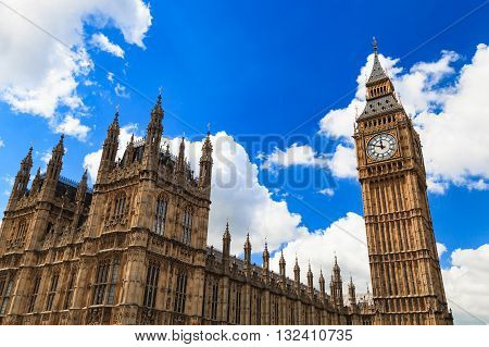 Big Ben and house of parliament on Sunny Day London UK