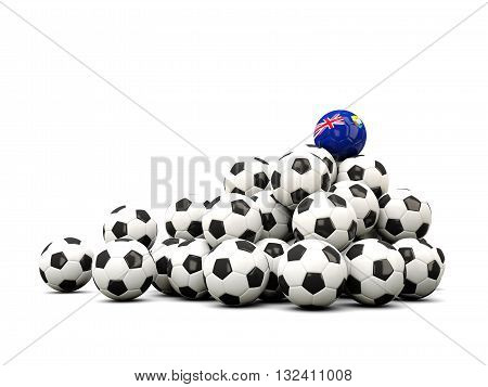 Pile Of Soccer Balls With Flag Of Saint Helena
