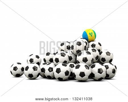Pile Of Soccer Balls With Flag Of Saint Vincent And The Grenadines