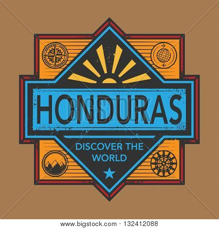 Stamp or vintage emblem with text Honduras, Discover the World, vector illustration