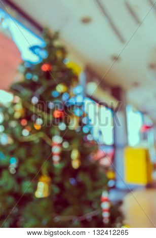 Blur Image Of Christmas Ornaments And Vary Of Decoration On Pine Tree