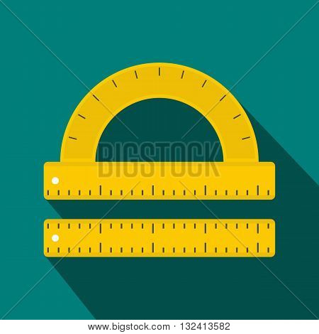 Ruler and protractor icon in flat style on a blue background