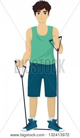 Illustration of a Teenage Boy Using a Resistance Band