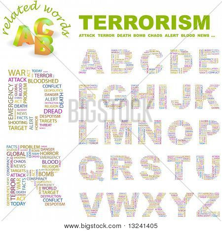 TERRORISM. Vector letter collection. Illustration with different association terms.