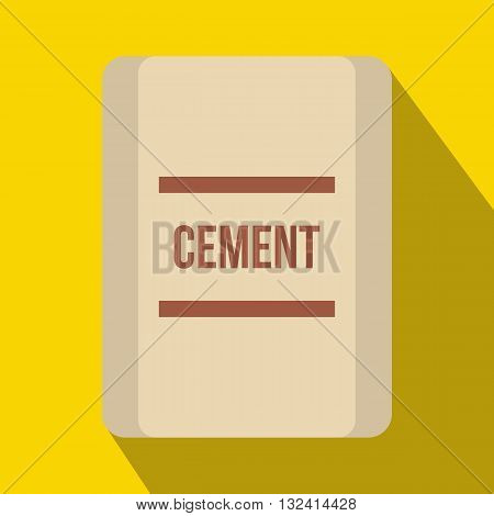 One bag of cement icon in flat style on a yellow background