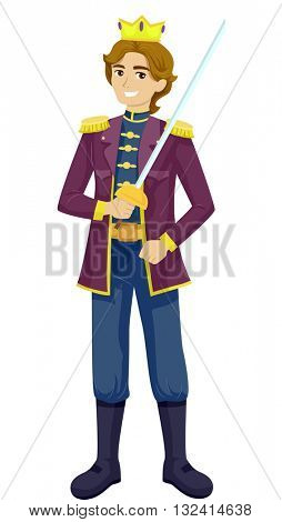 Illustration of a Teenage Boy Wearing a Prince Costume
