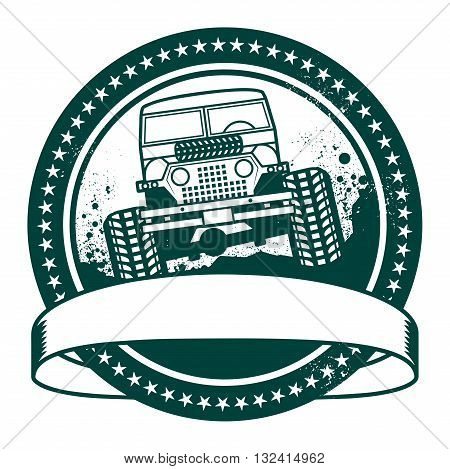 Grunge rubber stamp or label off road adventure, vector illustration