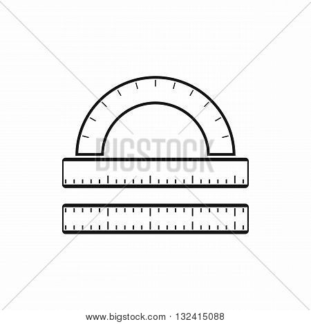 Ruler and protractor icon in simple style isolated on white background