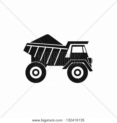 Dump truck with sand icon in simple style isolated on white background