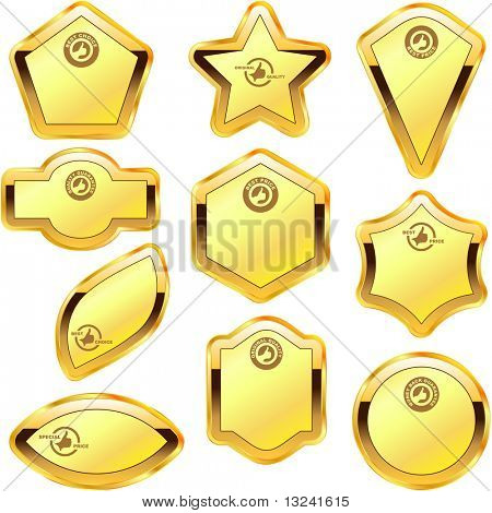 Vector guarantee label set. Gold collection.