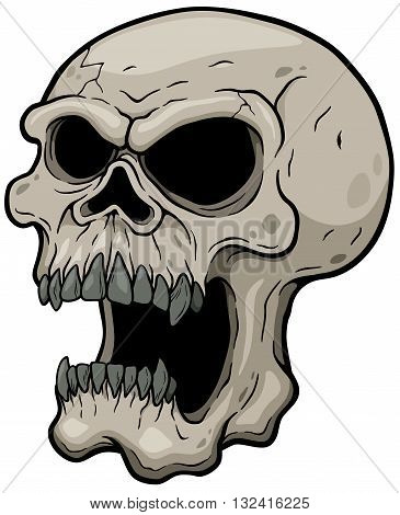 Vector illustration of Cartoon Skull character deign