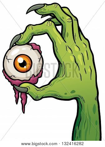 Vector illustration of Cartoon zombie hand holding eye