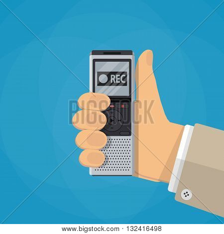Journalist hand holds dictaphone, voice recorder. Journalism concept . news concept. vector illustration in flat design on blue background