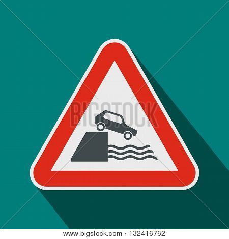 Riverbank traffic sign icon in flat style on a blue background