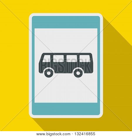 Bus stop sign icon in flat style on a yellow background