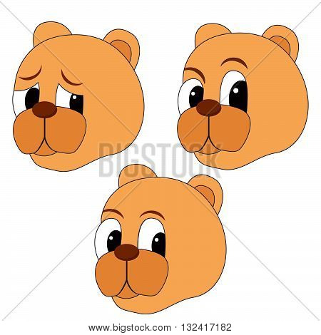 set an avatars with the image of a muzzle of a bear with different emotions. bear cartoon face