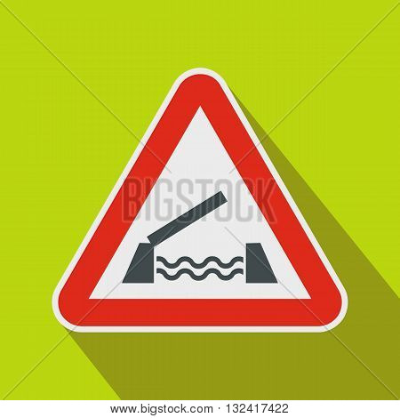 Lifting bridge warning sign icon in flat style on a green background