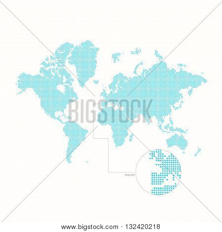 Dotted world map. Vector illustration. Blue vector map. Dotted drawing of the continents of the earth. World map template on a white background